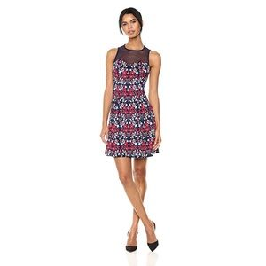 Guess Floral Printed Mesh Neck Cocktail Dress